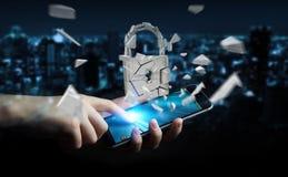 Homem de negócios que corta em rendição quebrada da segurança 3D do cadeado Imagem de Stock Royalty Free