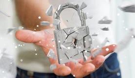 Homem de negócios que corta em rendição quebrada da segurança 3D do cadeado Fotografia de Stock