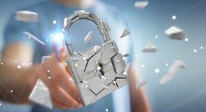 Homem de negócios que corta em rendição quebrada da segurança 3D do cadeado Imagens de Stock