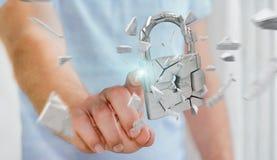 Homem de negócios que corta em rendição quebrada da segurança 3D do cadeado Imagem de Stock