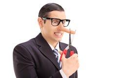 Homem de negócios que corta a ponta de seu nariz longo Fotografia de Stock