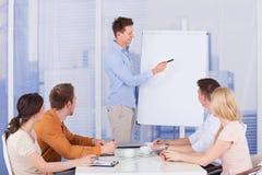 Homem de negócios que dá a apresentação aos colegas no escritório Fotos de Stock Royalty Free
