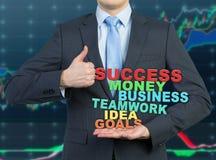 Homem de negócios que dá o polegar acima Fotografia de Stock