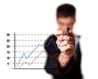 Homem de negócios que desenha um gráfico em uma tela de vidro Fotos de Stock