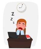 Homem de negócios que dorme em desenhos animados da tabela de trabalho Imagem de Stock
