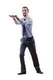 Homem de negócios que empurra afastado obstáculos Foto de Stock