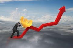 Homem de negócios que empurra o euro no ponto de partida da carta da tendência com clou Imagens de Stock Royalty Free
