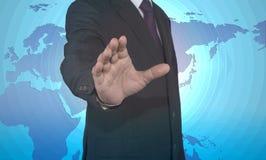 Homem de negócios que empurra a recusa das mãos Imagem de Stock Royalty Free