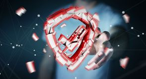 Homem de negócios que enfrenta a rendição da ruptura 3D da segurança Imagens de Stock Royalty Free
