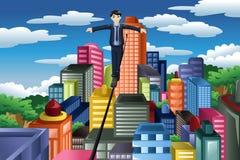Homem de negócios que equilibra em uma corda apertada Imagem de Stock Royalty Free