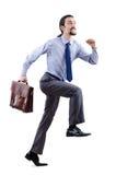Homem de negócios que escala a escada virtual Fotografia de Stock