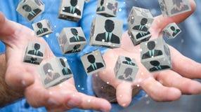 Homem de negócios que escolhe o candidato para uma rendição do trabalho 3D Fotografia de Stock