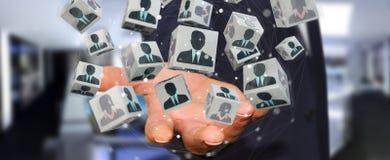 Homem de negócios que escolhe o candidato para uma rendição do trabalho 3D Fotos de Stock