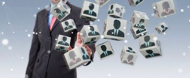 Homem de negócios que escolhe o candidato para uma rendição do trabalho 3D Fotografia de Stock Royalty Free
