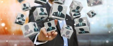 Homem de negócios que escolhe o candidato para uma rendição do trabalho 3D Foto de Stock Royalty Free
