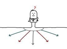 Homem de negócios que escolhe o sentido ilustração do vetor