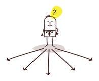 Homem de negócios que escolhe o sentido ilustração stock