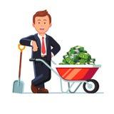 Homem de negócios que está ao lado do carrinho de mão com dinheiro ilustração do vetor