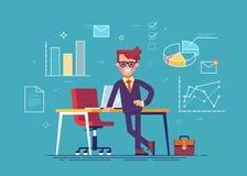 Homem de negócios que está de inclinação em uma tabela com ícones do processo de negócios e no infographics no fundo Ilustração d Imagem de Stock