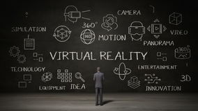 Homem de negócios que está a parede preta, conceito da escrita 'da realidade virtual' com ícone digital ilustração royalty free