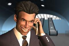 Homem de negócios que fala no telefone com um sorriso grande Imagem de Stock Royalty Free
