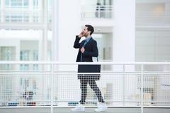 Homem de negócios que fala no telefone móvel Imagens de Stock Royalty Free