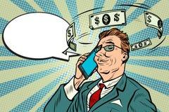 Homem de negócios que fala no telefone sobre o dinheiro ilustração stock