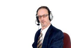 Homem de negócios que faz a audioconferência do Internet fotos de stock royalty free
