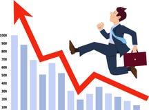 Homem de negócios que funciona acima o gráfico Fotografia de Stock