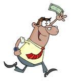 Homem de negócios que funciona e que sustenta o dinheiro Fotos de Stock Royalty Free