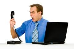 Homem de negócios que grita. Isolado no branco. Imagens de Stock Royalty Free