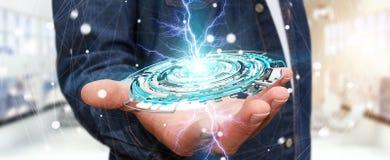 Homem de negócios que guarda 3D de flutuação que rende o inte digital do azul da tecnologia Fotos de Stock Royalty Free