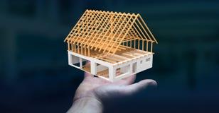 Homem de negócios que guarda 3D que rende a casa inacabado do plano em seu ha Fotografia de Stock Royalty Free