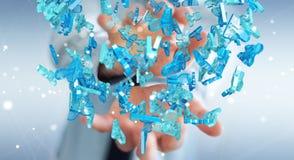 Homem de negócios que guarda 3D que rende o grupo de povos azuis Imagens de Stock