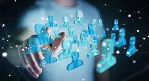 Homem de negócios que guarda 3D que rende o grupo de povos azuis Imagem de Stock