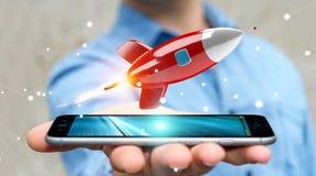 Homem de negócios que guarda e que toca em uma rendição do foguete 3D Imagens de Stock Royalty Free