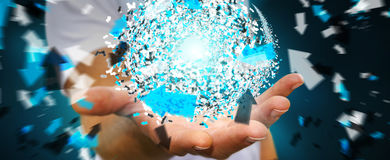 Homem de negócios que guarda a esfera da rede de dados da rendição 3D em sua mão Fotografia de Stock