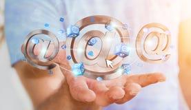 Homem de negócios que guarda o ícone do email da rendição 3D em sua mão Foto de Stock Royalty Free