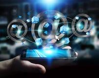 Homem de negócios que guarda o ícone do email da rendição 3D sobre o telefone celular Imagens de Stock