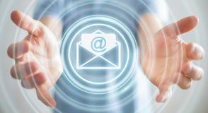Homem de negócios que guarda o ícone do email do voo da rendição 3D em sua mão Imagens de Stock Royalty Free