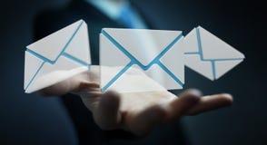 Homem de negócios que guarda o ícone do email do voo da rendição 3D em sua mão Foto de Stock Royalty Free