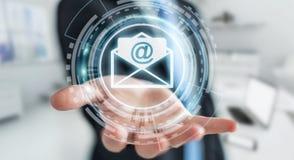 Homem de negócios que guarda o ícone do email do voo da rendição 3D em sua mão Fotos de Stock Royalty Free