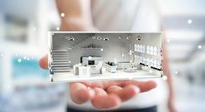 Homem de negócios que guarda o apartamento branco da rendição 3D Fotografia de Stock Royalty Free