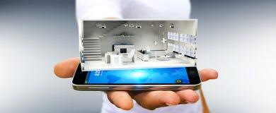 Homem de negócios que guarda o apartamento branco da rendição 3D Fotos de Stock