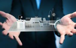 Homem de negócios que guarda o apartamento branco da rendição 3D Foto de Stock Royalty Free