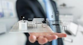 Homem de negócios que guarda o apartamento branco da rendição 3D Imagem de Stock Royalty Free
