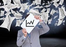 Homem de negócios que guarda o cartaz com gráficos de negócio Fotos de Stock Royalty Free