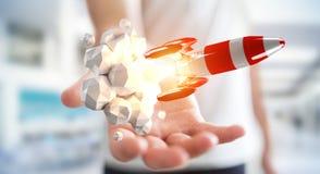 Homem de negócios que guarda o foguete vermelho em sua rendição da mão 3D Fotografia de Stock