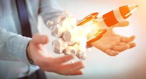 Homem de negócios que guarda o foguete vermelho em sua rendição da mão 3D Imagem de Stock