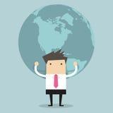Homem de negócios que guarda o globo grande Fotografia de Stock